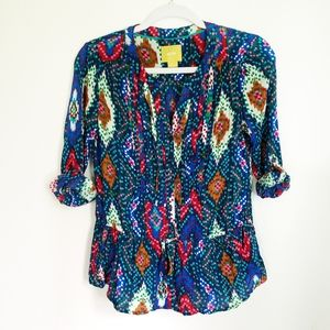 Maeve Colorful Pleated Button Front Blouse